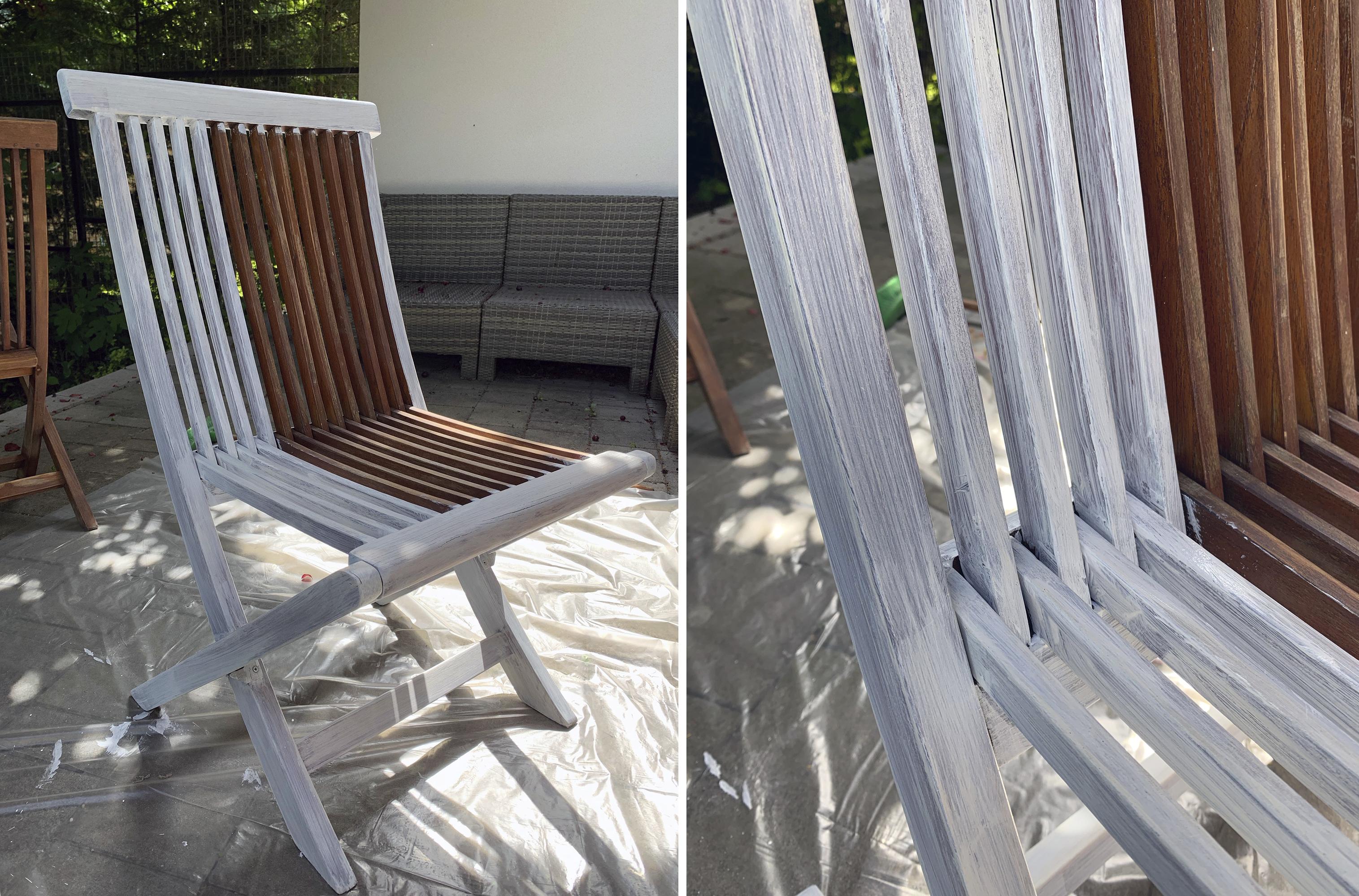 kerti szék felújítása lazúrral