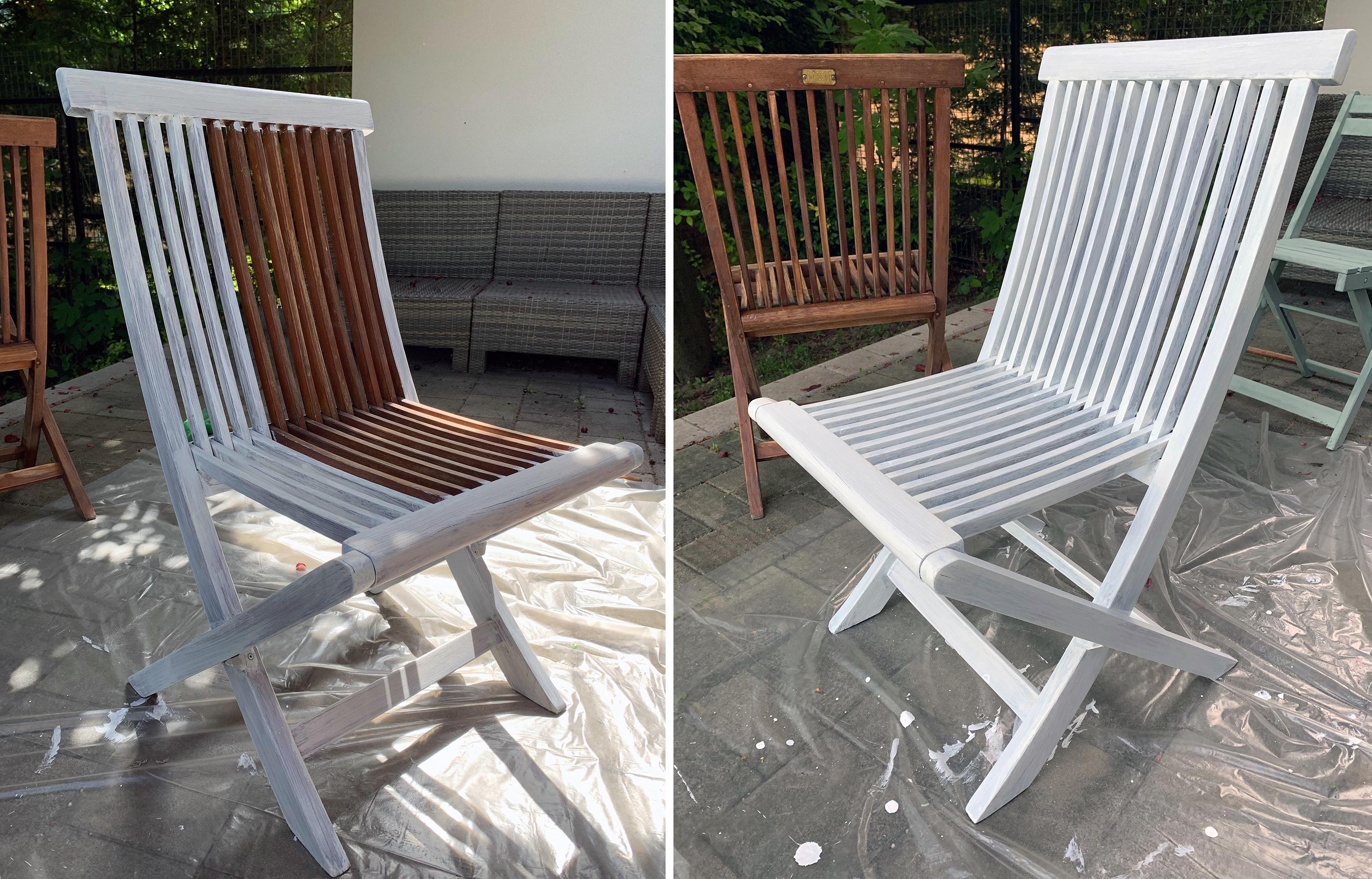 Előtte utána: öreg kerti szék fehér lazúrban Praktiker Ötletek