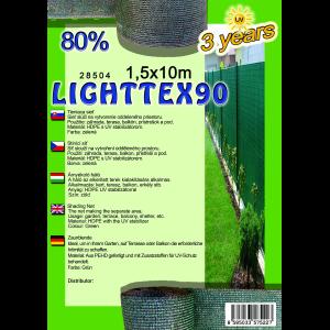 ÁRNYÉKOLÓ HÁLÓ 1,5X10 M 80% ZÖLD LIGHTTEX90