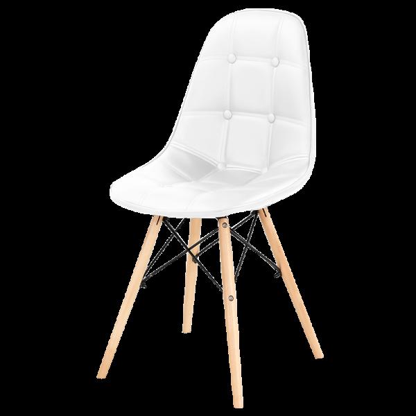 fehér műbőr szék fém láb