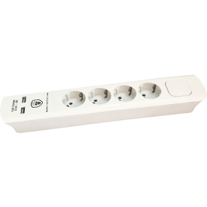 ELOSZTÓ 4-ES 1,4M FEHÉR KAPCSOLÓS 2 USB CSATLAKOZÓ 1,5MM2 MAX.3680W