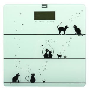 THE CAT DIGITÁLIS SZEMÉLYMÉRLEG ÜVEG, 29X1,5X29CM, FEHÉR