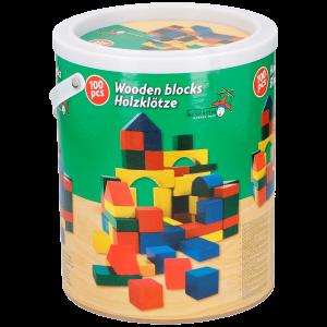 Fa építőkocka 100 db,papírvödörben