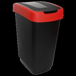 Műanyag szemetes 25 L fekete/piros
