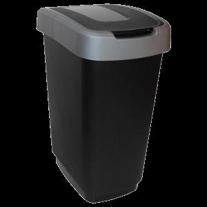 Műanyag szemetes 50 L fekete/szürke