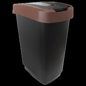 Műanyag szemetes 50 L fekete/barna